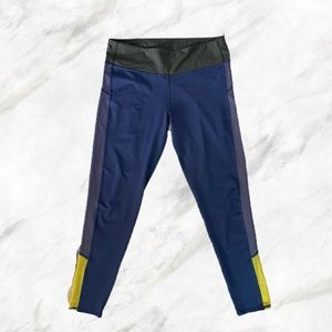Aerie   Yellow Detailed Navy Cropped Leggings